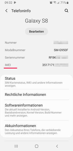 IMEI-Nummer Android